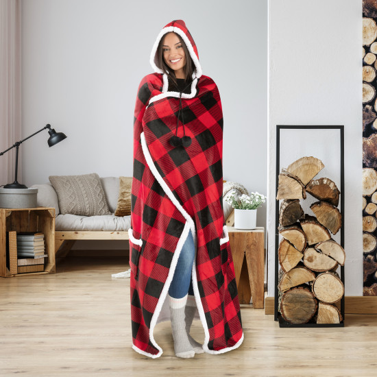 Hooded Blanket Throw Wearable Cuddle Buffalo Plaid - Red/Black