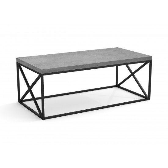 Coffee Table 44L inches Grey Cement Black Metal