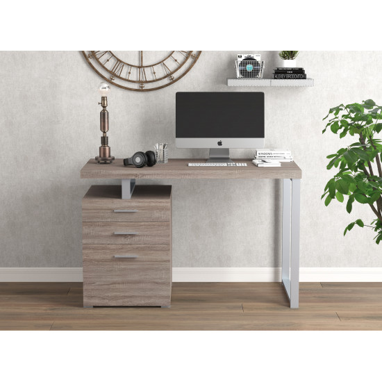Computer Desk 47.25L inches Dark Taupe 3 Drawers Silver Metal