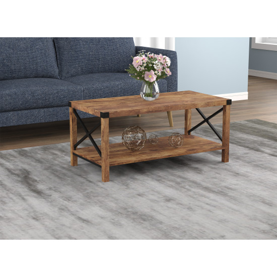 Coffee Table 39L inches Brown Reclaimed Wood X MetaL inches Sides